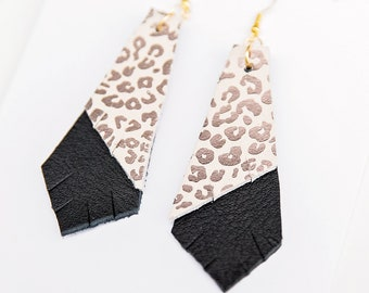 CHEETAH {FELINE COLLECTION} - Layered Geo Leather Statement Earrings, Cheetah Leather, Cheetah Leather earrings, Cheetah earrings, Jewelry