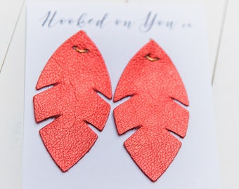 Palm Metallics {Cherry Red} -leather earrings, metallic earrings, rose gold earrings, boho fringe earrings