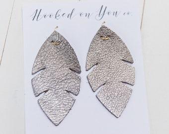 Palm Metallics {Gunmetal Gray} -leather earrings, metallic earrings, Gray earrings, boho palm earrings