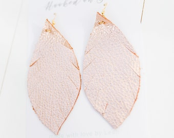 ROSEGOLD {SHOWSTOPPER COLLECTION} - Metallic Feather Leather Earrings, Leather Earrings, Leaf Leather Earrings, Statement Earrings