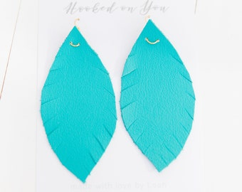 Teal {TEAL WE DROP Collection}  - Teal Feather Leather Earrings, Turquoise Leather Earrings, Leaf Leather Earrings, Wedding Earrings