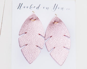 Palm Metallics {Pretty in Pink} -leather earrings, metallic earrings, pink earrings, boho palm earrings