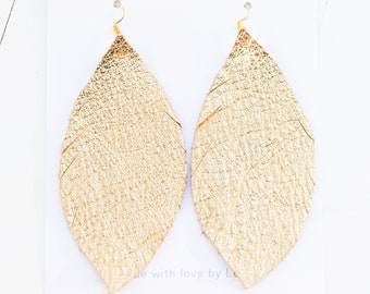 GOLD {SHOWSTOPPER COLLECTION} - Metallic Feather Leather Earrings, Leather Earrings, Leaf Leather Earrings, Statement Earrings