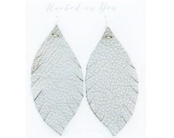 GUNMETAL {SHOWSTOPPER COLLECTION} - Metallic Feather Leather Earrings, Leather Earrings, Leaf Leather Earrings, Statement Earrings