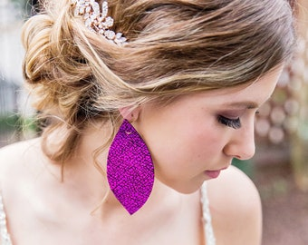 Fuchsia {Crackle Collection} Purple Leather Earrings, Sparkle Earrings, Shimmer earrings, Feather earrings, Fuchsia earrings