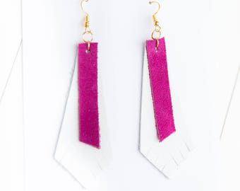 Pink + White Leather/Suede Mix {DOUBLE TAKE COLLECTION} - Pink Leather Earrings, Statement Earrings