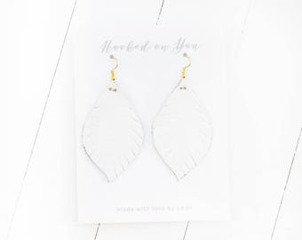 Small White {SNOW WHITE COLLECTION} - White Feather Leather Earrings, Leather Earrings, Leaf Leather Earrings, Statement Earrings