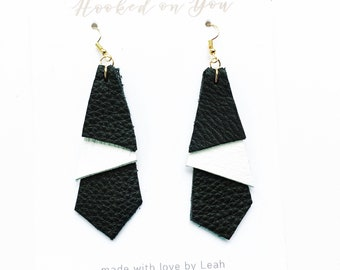 Geo Layered {SOUTHERN GAL COLLECTION} - Leather Earrings, Layered Earrings, Gold Leather Earrings, Statement Earrings, Jewelry