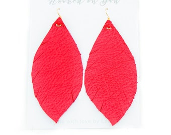 CHERRY  {SHOWSTOPPER COLLECTION} - Metallic Feather Leather Earrings, Leather Earrings, Leaf Leather Earrings, Statement Earrings