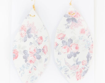 FLORAL {SPRING COLLECTION} - Floral Feather Earrings, Leaf Earrings, Spring Earrings, Rose Earrings