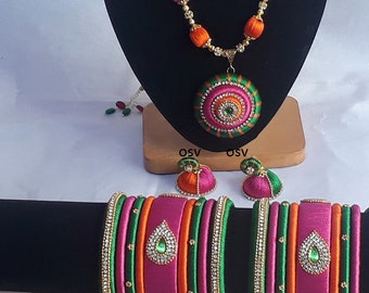 omshivacreationz pink and green color combination silk thread complete jewelry set