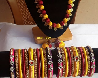 omshivacreationz meroon and yellow color combination of handmade silk thread complete jewelry set