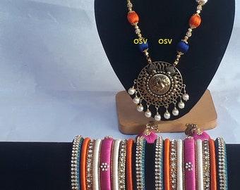 omshivacreationz pink,blue,cream ,orange color combination silk thread complete jewelryset