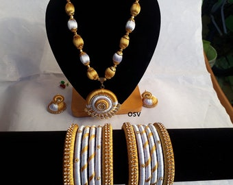 omshivacreationz golden and white color combination silk thread complete jewelry set
