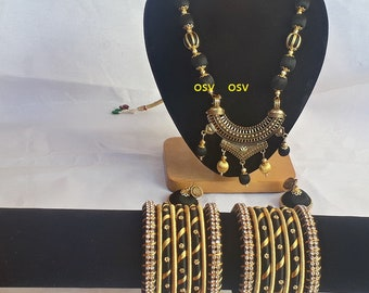 omshivacreationz black and golden color combination silk thread complete jewelry set