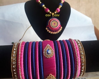 omshivacreationz pink and blue color combination silk thread complete jewelry set