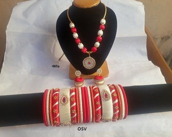omshivacreationz pink and cream color combination handmade silk thread jewelry set