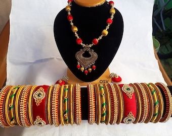 omshivacreationz red and gold color combination silk-thread complete jewelry set