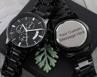 Personalized Engraved Watch for Men | Engraved Chronograph Watch, Custom Message Watch, Custom Mens Watch, Personalized Watch, Custom Watch