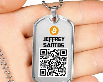Personalized Bitcoin QR Code Pendant Necklace, Custom QR Code Bitcoin Ethereum Litecoin Neo Any Cryptocurrency Dog Tag Necklace