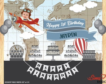 Personalized Vintage Airplane Birthday Printable Backdrop, Hot Air Balloon Aeroplane Backdrop Poster, Photobooth Sign, Birthday Poster