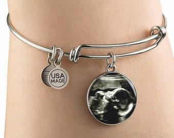 Ultrasound Bangle or Necklace - Custom Ultrasound Sonogram Pendant, Personalized Pregnancy Jewelry,Baby Ultrasound Pregnancy Bangle Necklace