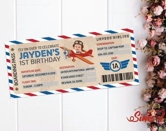 Personalized Vintage Airplane Birthday Invitation, Airplane Invitation, Airplane Ticket, Boarding Pass Invitation, Aeroplane e-invite
