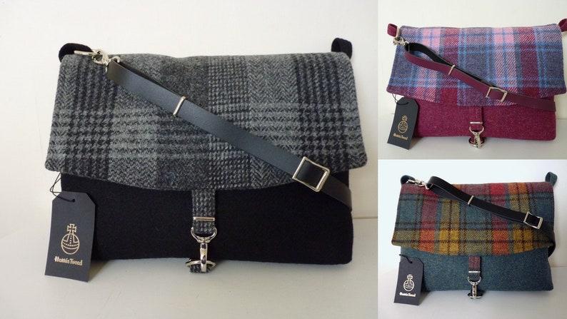 Messenger Bag Harris Tweed Bag Tote Bag \u2013 Black /& Check