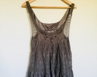 Vintage Lace Boho Style Low Scoop Neck Hippy Singlet Brown Top
