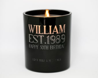 Personalised Engraved Birthday Glow Through Candle Gift - Happy Birthday Gift - Established - Customised Birthday Gift For Him - 30th - 50th
