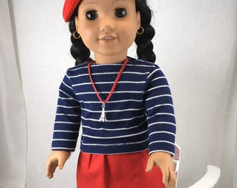 """Pink Capped Sleeved Knit Top w//Rhinestones fits 18/"""" American Girl Doll Clothes"""