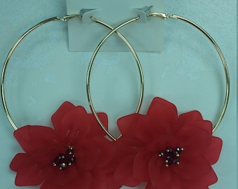Channel Inspired Flower Bomb Hoops Red
