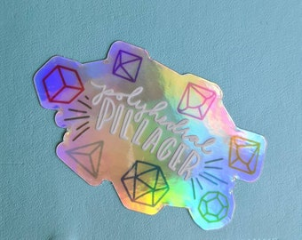 """HOLO """"Polyhedral Pillager"""" Dice Goblin Holographic Die Cut Sticker"""