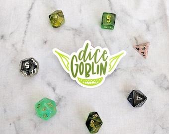 "Green ""Dice Goblin"" Sticker - Smiling Green Goblin with Big Ears Die Cut Sticker"