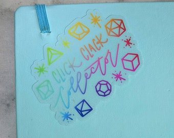"""Small CLEAR Rainbow """"Click Clack Collector"""" Sticker with Polyhedral Dice"""