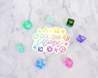 "Rainbow ""Click Clack Collector"" Sticker//Polyhedral Dice Design"