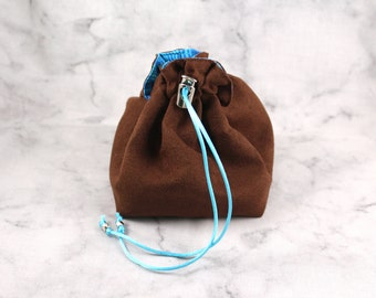 Small Dice Bag without Pockets//Electric Blue and Faux Leather