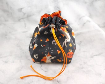 Small Dice Bag without Pockets//Uni(candy)corn//Orange and Green Drawstring Variations