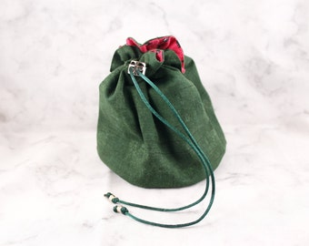 Small 6 Pocket Dice Bag//Watermelon Wishes//Green and Pink