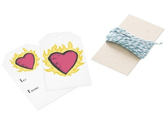 Clothes Over Bro's FLAMING HEART Gift Tag (1) - One Tree Hill