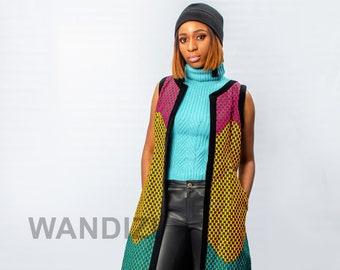 Ankara Long Sleeveless Jacket, African Print Jacket, African Women Clothing, African Womens Wear, Ankara Jacket, African Womens Fashion