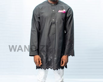 042d73ea7f38 Black Tunic with lace pattern African Men Clothing African