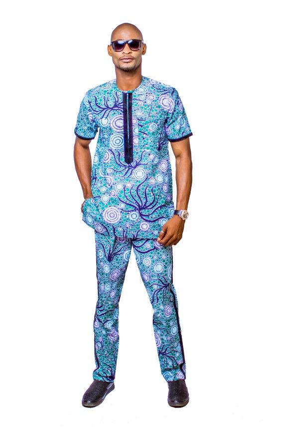 Ankara Top & Hose afrikanische Herrenbekleidung afrikanische | Etsy
