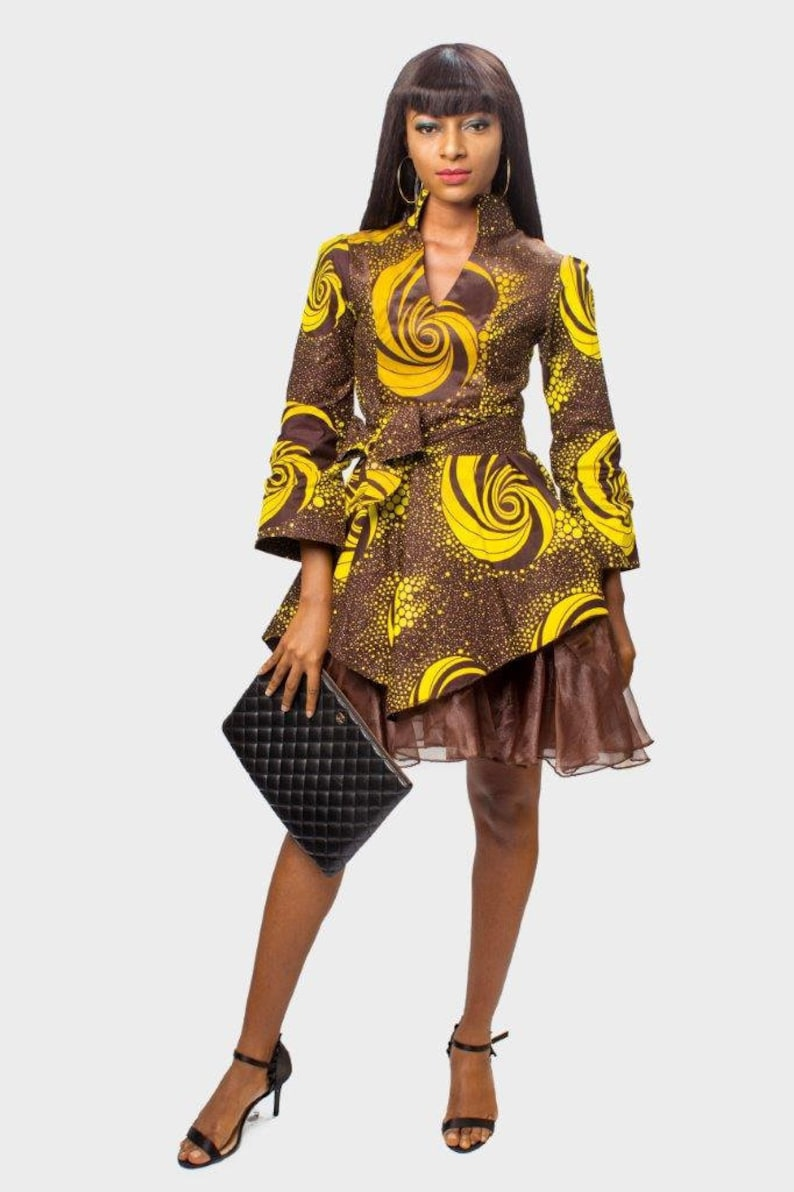 927b223400960 Ankara and Organza Fit and Flare Dress African Print Dress | Etsy