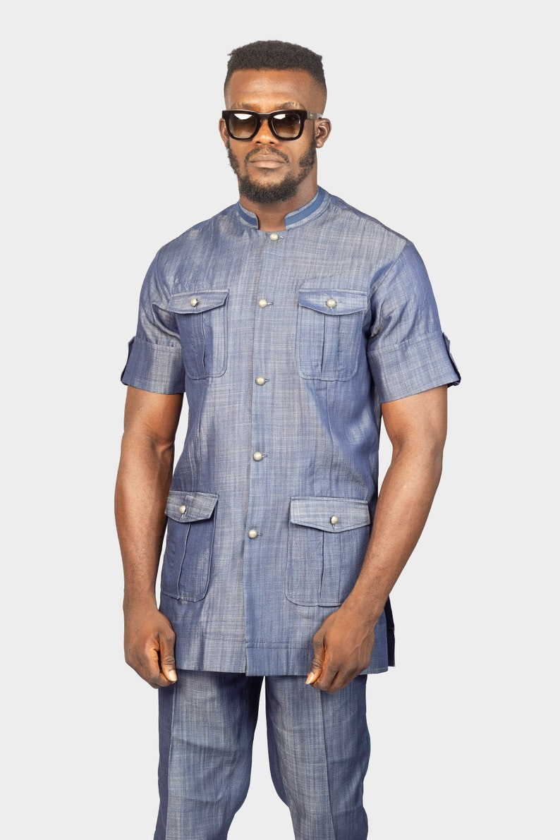 bbb9cf64 Safari Denim Suit, Safari Jeans Top and Pants, Jeans Men, Denim Shirt and  Pants, African Mens Clothing, African Wear, Jeans Shirt, Jeans