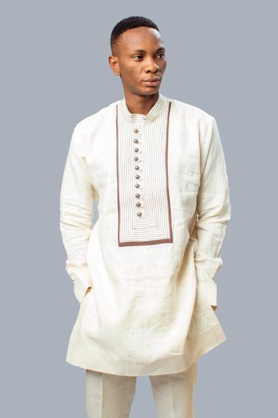 Lin Pantalon Des En Vêtements amp; Hommes Africains Etsy Chemise FqRO5x