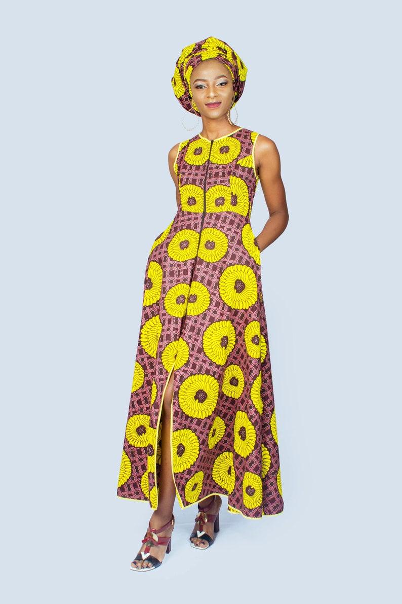 finest selection e5031 259e7 Vestito lungo giallo stampa africana di trasformatore, vestito lungo di  Ankara, regalo per lei, abbigliamento africano per abbigliamento, vestito  ...