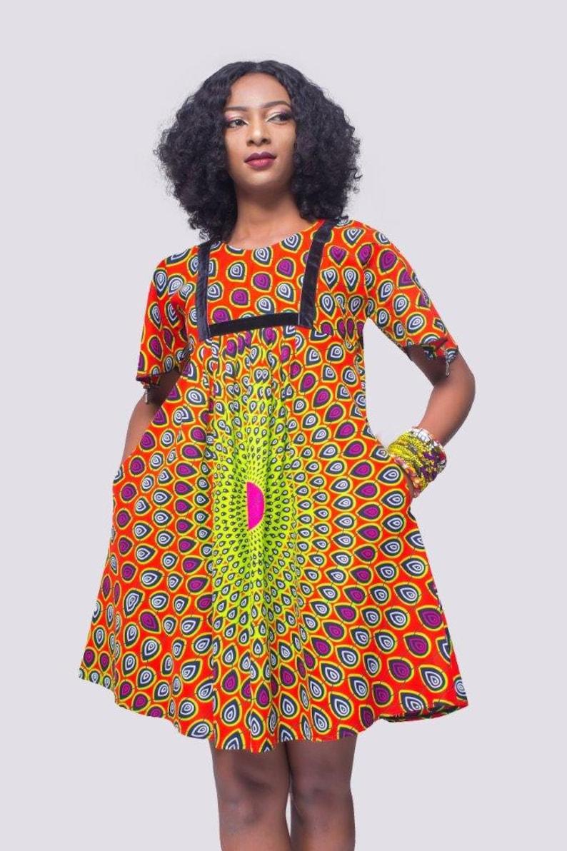 239dd66c35 Colourful African Print Flare Dress Multicolor Ankara Dress | Etsy