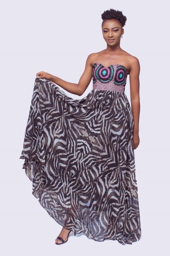 African Ball Gowns Ankara Dress with Chiffon African Prom Dress Ankara Ball Gowns Ankara and Chiffon Maxi Dress Strapless African Dress