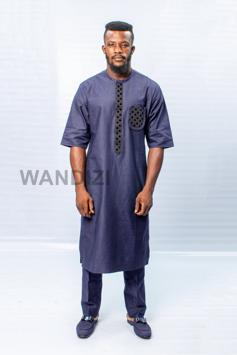 28f8c1aefdbee Blue Kaftan with Dotted Black Accents, African Men Clothing, African Mens  Wear, African Wedding Men, Gift For Him, African Men Suit